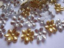 (BLd-049) 4 bloemetjes - goud / zilver - 15mm