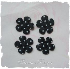 (BLs-009) 4 polka dot bloemetjes  - satijn - zwart - 2cm