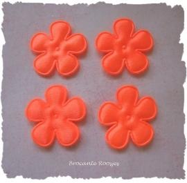 (BLE-025a) 4 satijnen bloemen - neon oranje - 25mm