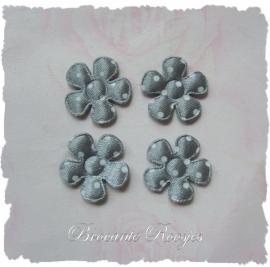 (BLs-008) 4 polka dot bloemetjes  - satijn - grijs - 2cm