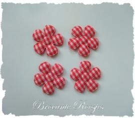 (BLr-001c) 4 geruite bloemetjes - rood - 22mm