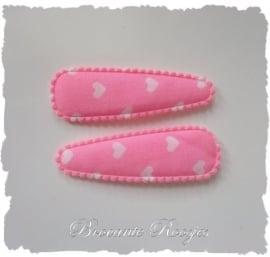 (HOd-004) 2 hoesjes - hartjes - roze - 55mm