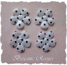 (BLs-010) 4 polka dot bloemetjes - satijn - wit/zwart - 2cm