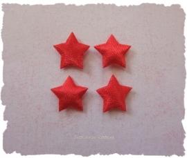 (Ster-002) 4 sterretjes - satijn - rood - 10mm