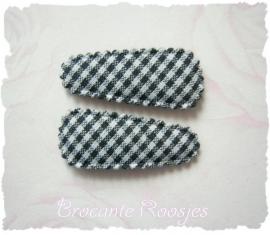 (HOBr-011) 2 hoesjes - baby - ruitje - zwart
