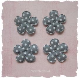 (BLsk-010b) 4 bloemen - stippen - katoen - grijs - 25mm
