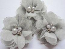 (BLzc-024) Chique bloem - pareltjes & strass - licht grijs
