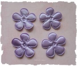 (BLE-043) 4 satijnen bloemen - lavendel - 35mm
