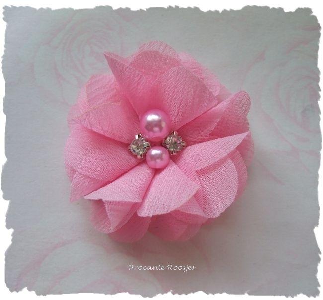 (BLzc-015) Chique bloem - pareltjes & strass - roze - 5cm