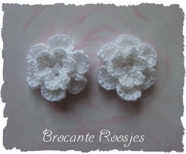 (BLh-035) 2 gehaakte bloemetjes - wit - 25mm