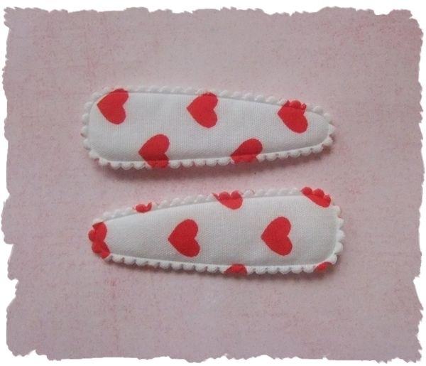 (HOd-006) 2 hoesjes - hartjes - wit/rood - 55mm