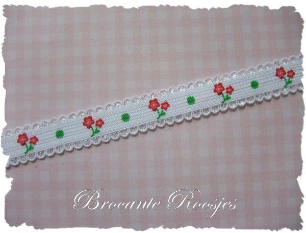 (EB-pr-002) Elastisch band met kantje - rode bloemetjes - 12mm