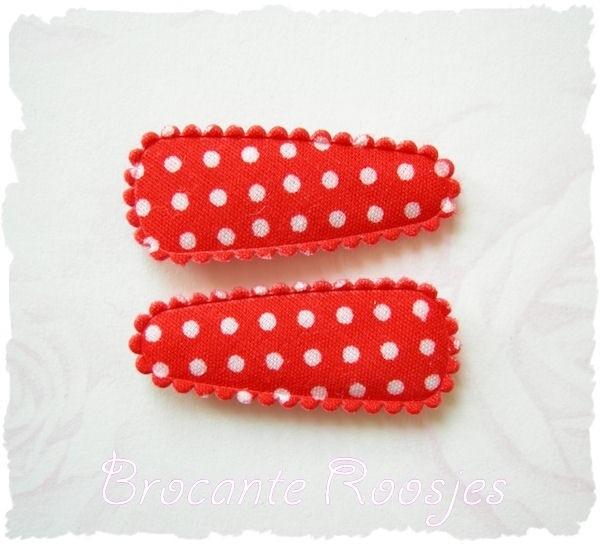 (HOBs-011) 2 hoesjes - baby - stipje - rood - katoen