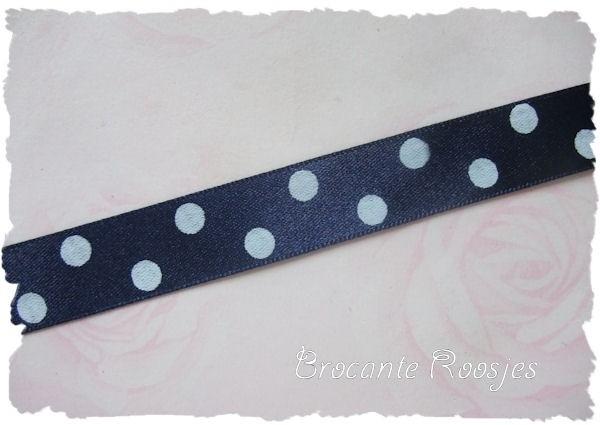 (ST-020) Stippen lint - satijn - grote stip - donkerblauw - 15mm
