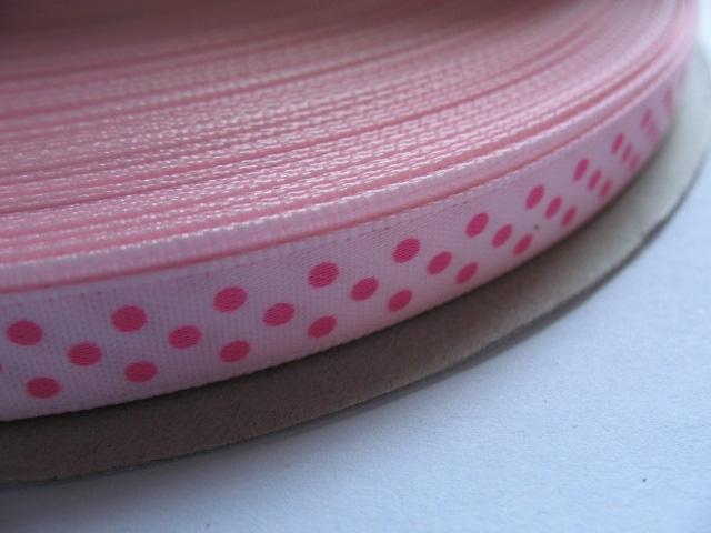 (ST-003) Stippen lint - satijn - licht roze met fuchsia stippen  - 10mm