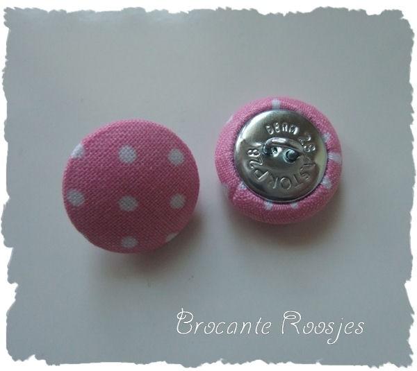 (SK-009) Stofknoopje -  18mm - stipje - roze