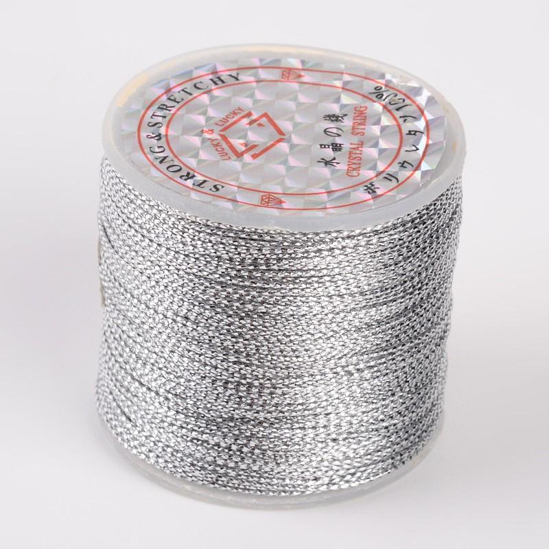 (KO-009) Metallic koord - 0,8mm - zilver