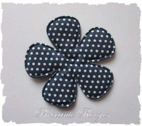 (BLsk-044) Bloem - polka dot - katoen - donkerblauw - 75mm