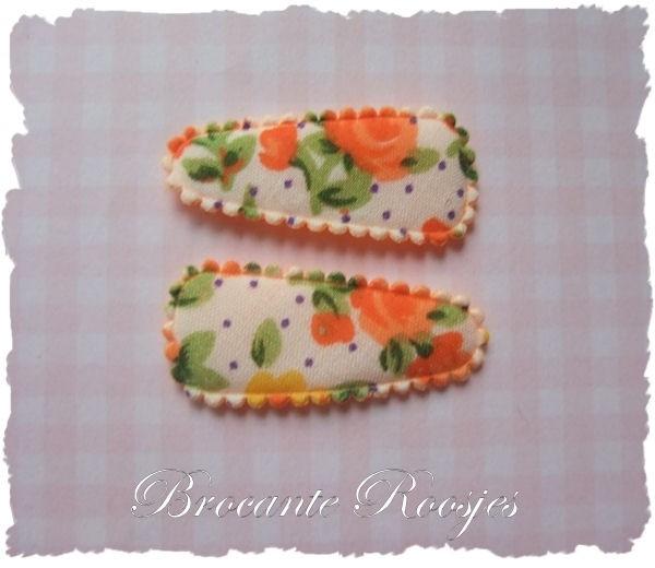 (HOBd-020) 2 hoesjes - baby - roosjes & bloemetjes - oranje