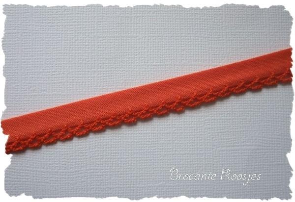 (BI-006) Biaisband met kantje - oranje