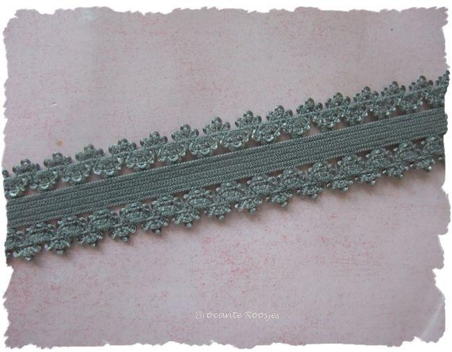 (O-004) Elastisch band met kantje - grijs - 22mm br. - 50cm