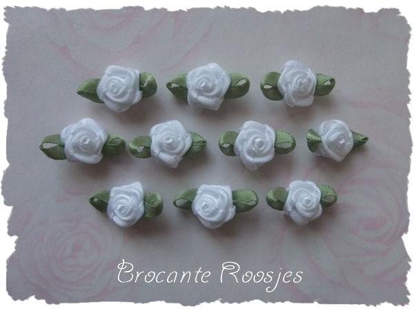 (Rb-001) 10 satijnen roosjes met blaadje - wit - 17mm