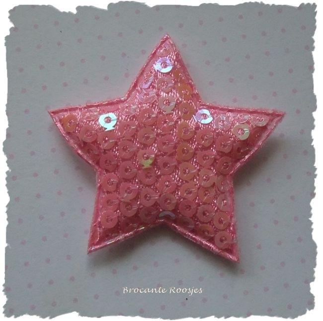 (Ster-055) Ster - pailletjes - roze - 4cm