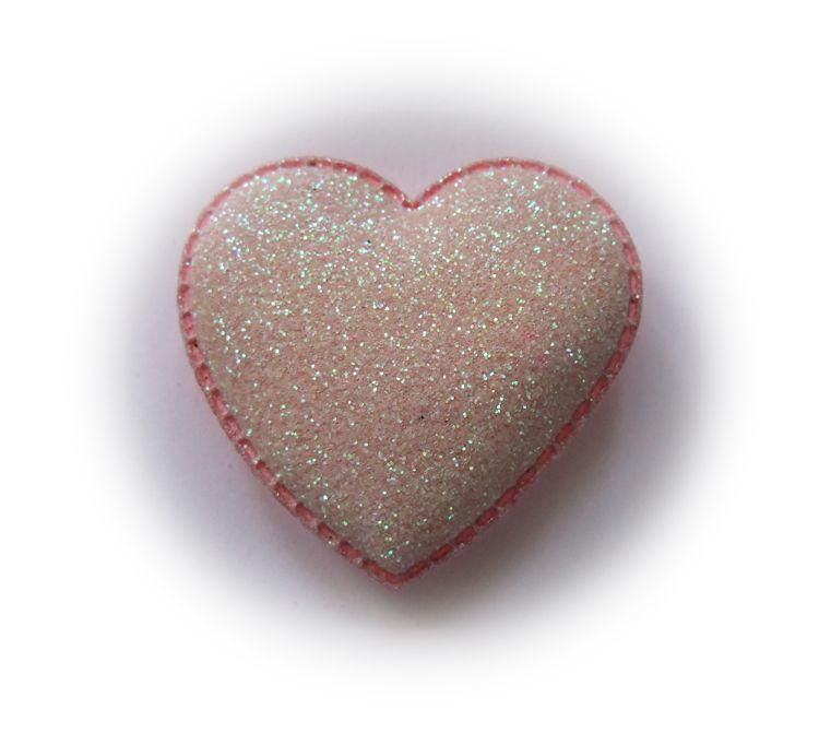(H-040) Glitter hart - roze - 37mm