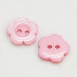 (Kn-004) Knoopje - bloemetje - licht roze - 15mm