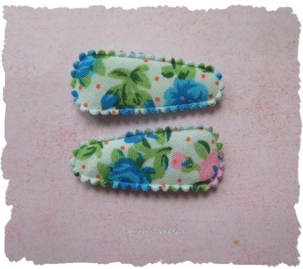 (HOBd-017) 2 hoesjes - roosjes & bloemetjes - aqua