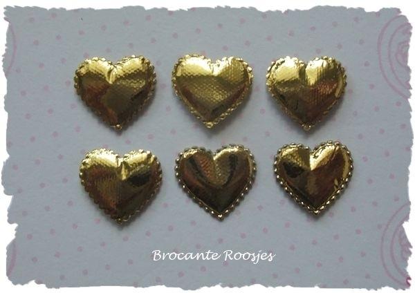 (H-003a) 6 hartjes - goud - 12mm