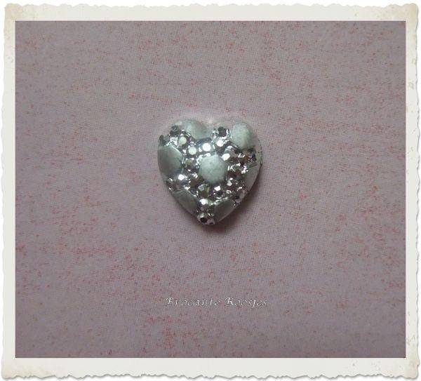 (FL-ha-002) Flatback - hartje - zilver - 10mm