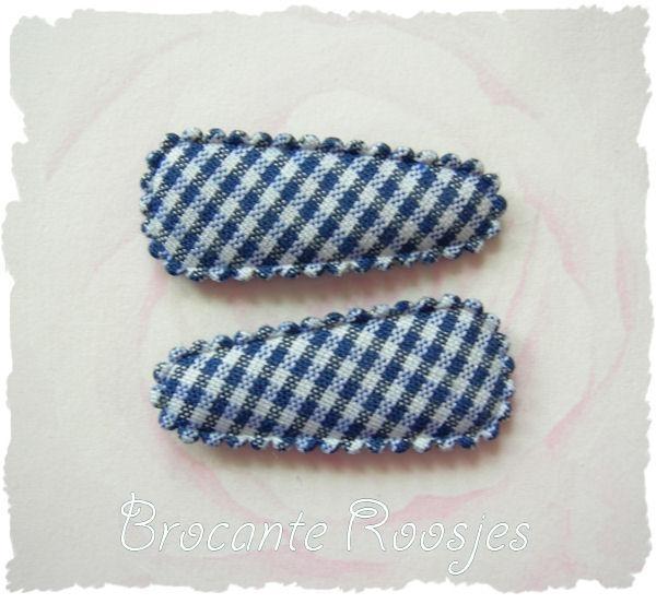 (HOBr-004) 2 hoesjes - baby - ruitje - donkerblauw