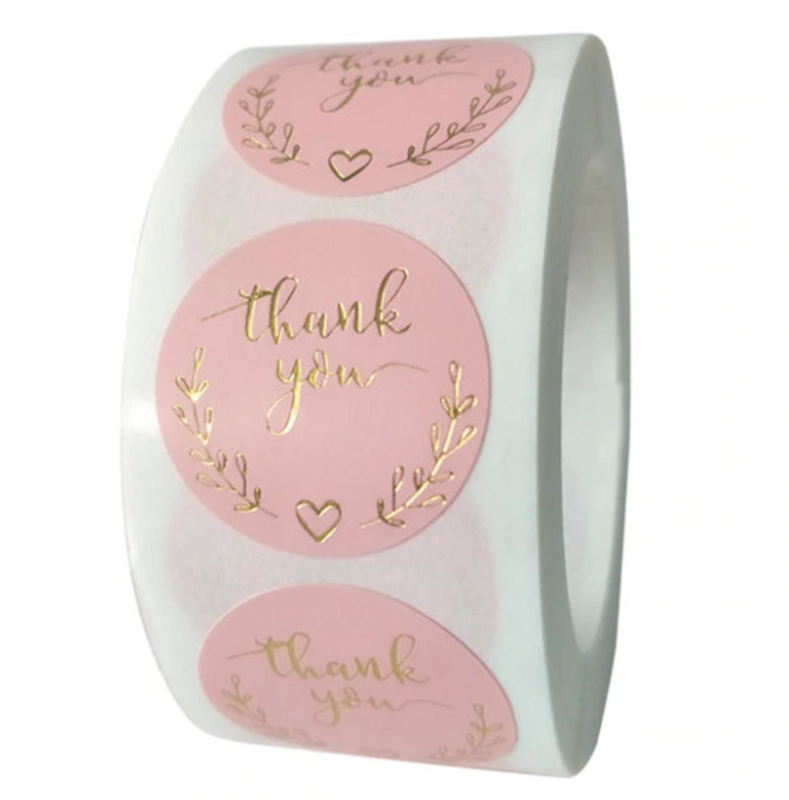 (STICK-001) 25 Stickers - Thank You - roze/goud