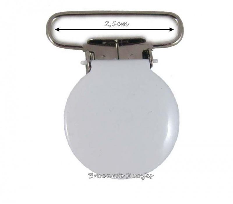 (SPe-005) Speenkoord clip - metaal - rond - wit - 2,5cm