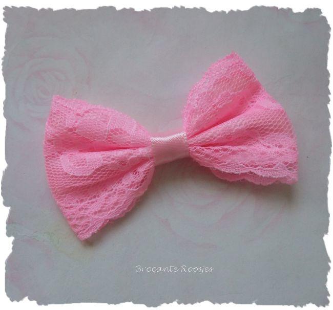 (Sd-037) Kanten strik - roze - 7cm