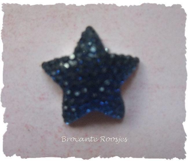 (FL-st-005) Flatback - ster - glitter - d. blauw - 16mm
