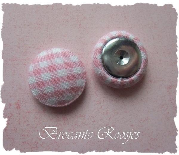 (Skf-001) Stofknoopje - flatback - 18mm - ruitje - roze
