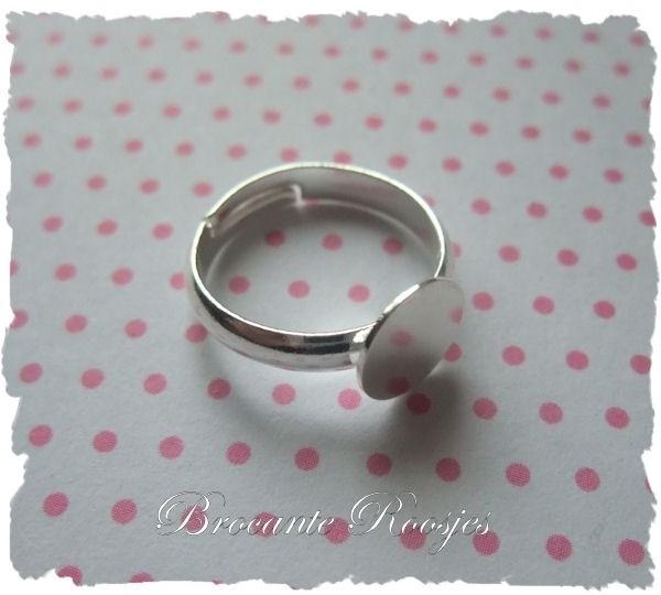 (Rp-001) Kinder-ring - verstelbare ring met plakvlakje 8mm - diameter 14mm