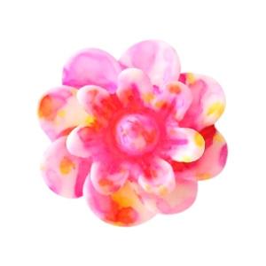 (KR-RO-007) Kraal - bloem - roze-geel - 12mm - flowerpower