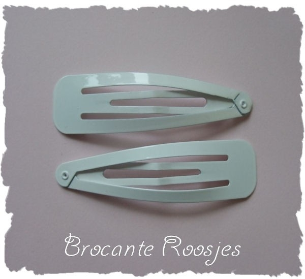 (HAxl-002) 2 klik-klak haarspelden XL - wit - 6,5cm