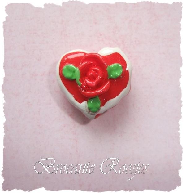 (FL-ha-005) Flatback - hartje met roosje - rood