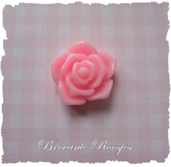 (FLr-010) Flatback - roosje - roze - 18mm