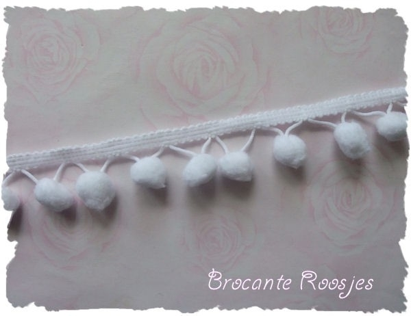 (BO-001) Bolletjesband - wit