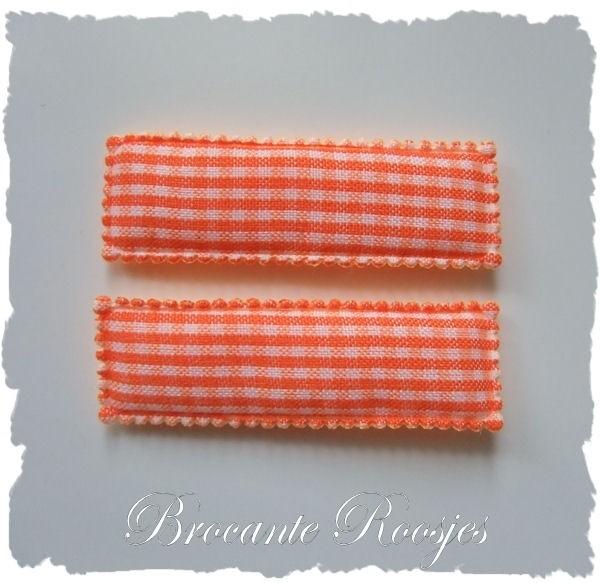(HO-RE-R-007) 2 hoesjes - recht - ruitje - oranje