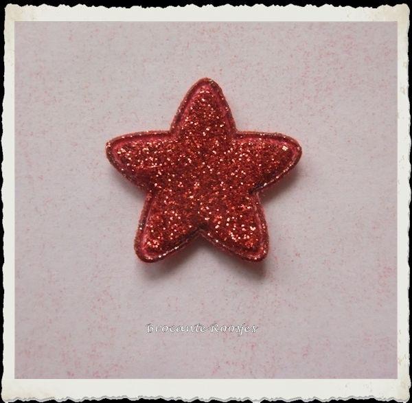 (Ster-033) Ster - glitter - rood - 25mm