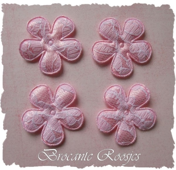(BL-ka-005) 4 bloemen met kant - roze - 35mm