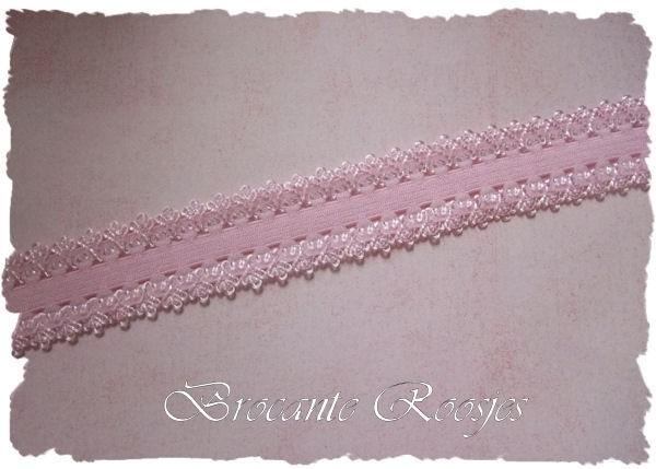 (O-006) Elastisch band met kantje (haarband-elastiek) - lichtroze - 42cm