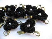 (BLd-040) Bloem - fluweel - met pareltje & blaadje - zwart - 3cm