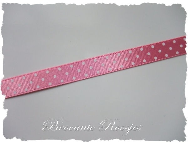 (ST-001) Stippen lint - satijn - roze - 10mm